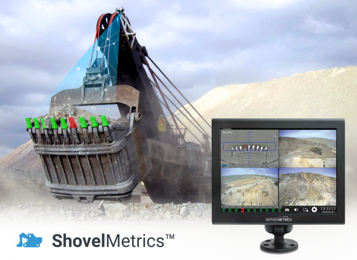 A mining shovel equipped with a missing tooth detection solution.